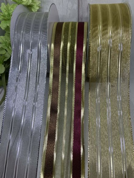 Gold Silver & multiple colour stripe wire edge ribbon